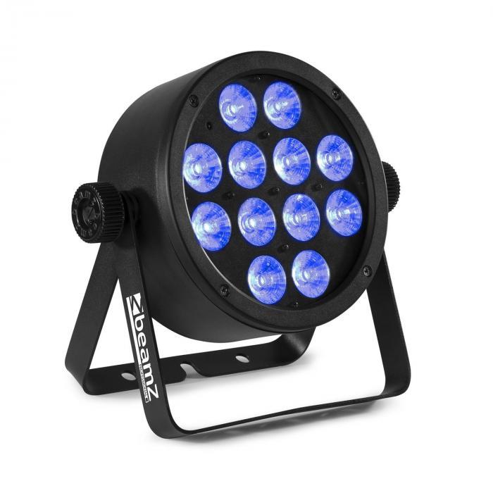 """Beamz BAC304 ProPar, projektor, 12 diod LED typu """"4 w 1"""" o mocy 8 W, spektrum barw RGBW, ściemniacz, pilot zdalnego sterowania"""
