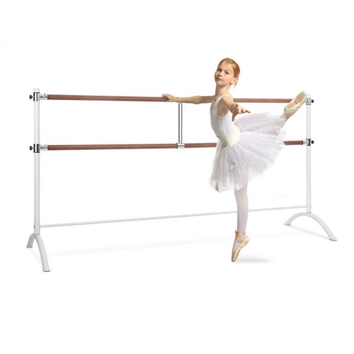 KLARFIT Barre Marie, podwójny drążek baletowy, 220 x 113 cm, średnica 2 x 38 mm, biały