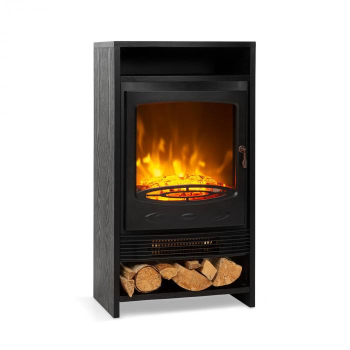Klarstein Bergamo, kominek elektryczny, 900/1800 W, termostat, imitacja drewna, kolor czarny