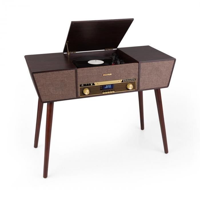 Auna Belle Epoque 1912, gramofon retro, CD, BT, USB, DAB +/FM, brązowy