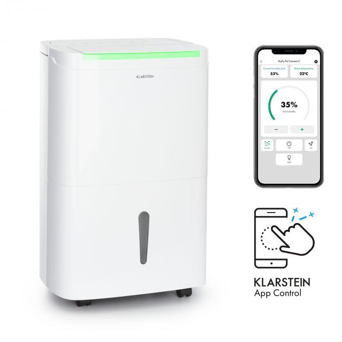 Klarstein DryFy Connect 30, osuszacz powietrza, WiFi, kompresja, 30 l / d, 25 - 30 m², biały