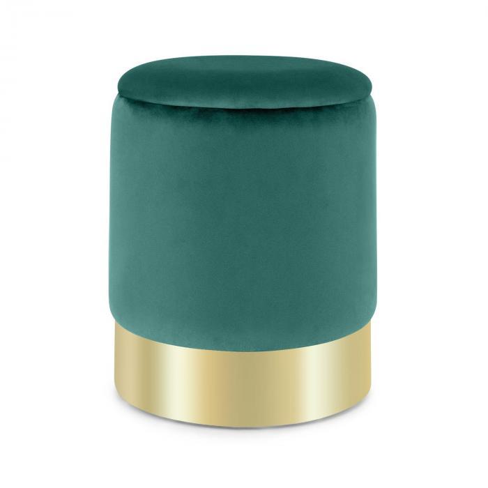 Gigi Upholstered Stool 38x31cm (HxØ) Inner Compartment velvet green