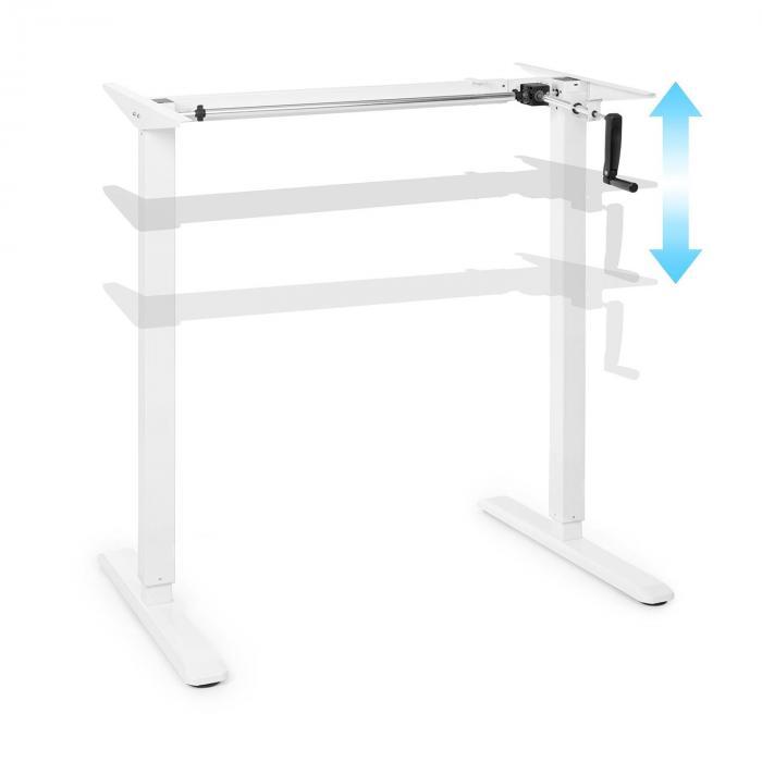 OneConcept Multidesk, biurko z regulacją wysokości, ręczne, 73-123 cm, białe
