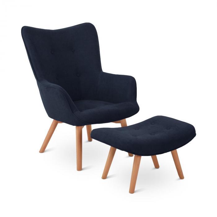 Besoa Hagersten Class 20, fotel z podnóżkiem, petrol (szaroniebieski)