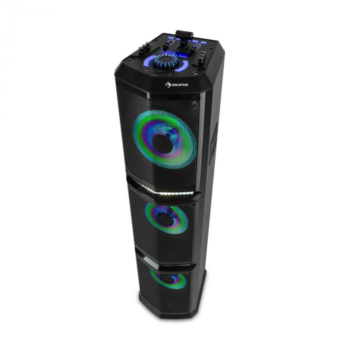 Auna Clubmaster TripleBeat, imprezowy zestaw nagłośnieniowy, 3 x 10-calowy głośnik niskotonowy (woofer), USB, BT, AUX, FM, 250 W maks.