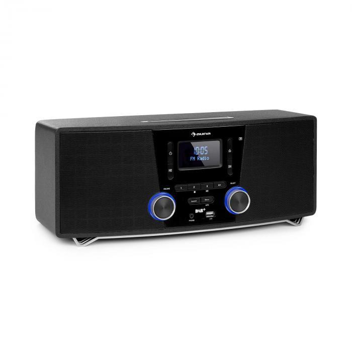 Auna Stockton, system mikro stereo, maks. 20 W, DAB +, UKW, odtwarzacz CD, BT, OLED, czarny