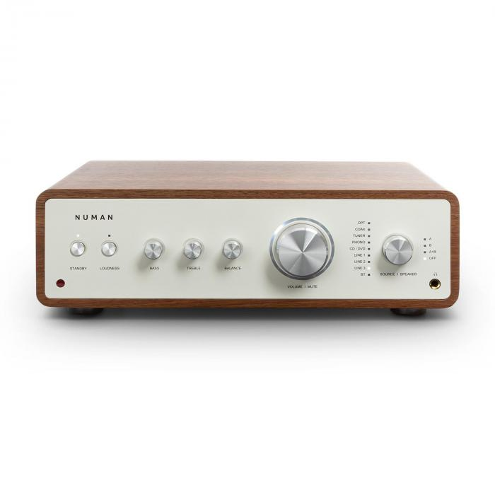 Numan Drive, cyfrowy wzmacniacz stereo, 2 x 170 W/4 x 85 W RMS, wejście AUX/phono/koncentryczne, orzech włoski
