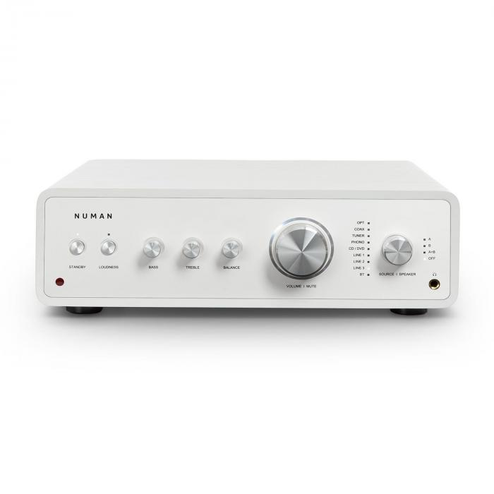 Numan Drive, cyfrowy wzmacniacz stereo, 2 x 170 W/4 x 85 W RMS, wejście AUX/phono/koncentryczne, biały