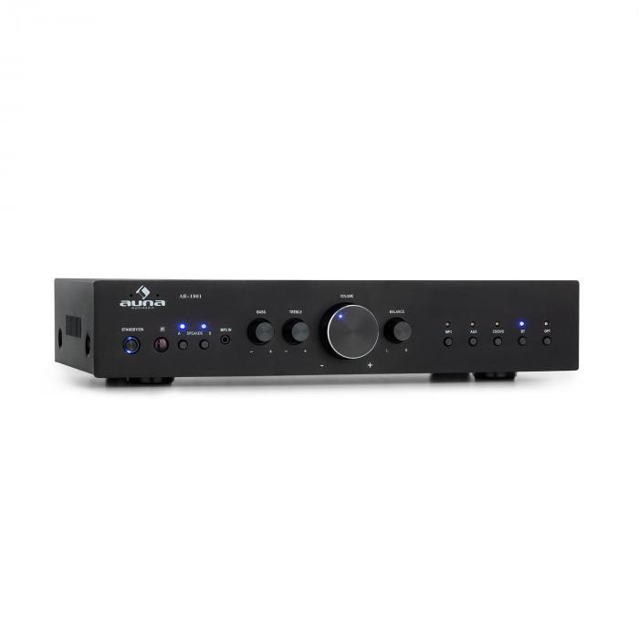 Auna AV2-CD608BT, HiFi stereo wzmacniacz, 4 x 100 W RMS, BT, cyfrowe optyczne wejście, USB, czarny