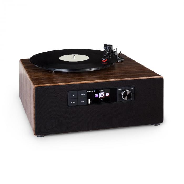 Auna Connect Vinyl Cube, gramofon, internet/ DAB+/ UKF, USB, 40 W maks., brązowy