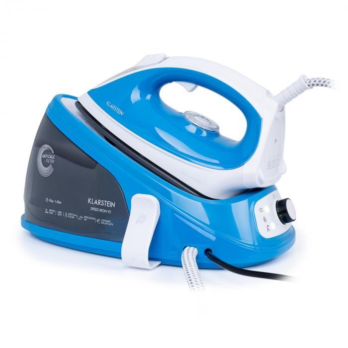 Klarstein Speed Iron V2 żelazko parowe 2100W 1100 EasyGlide białe / niebieskie