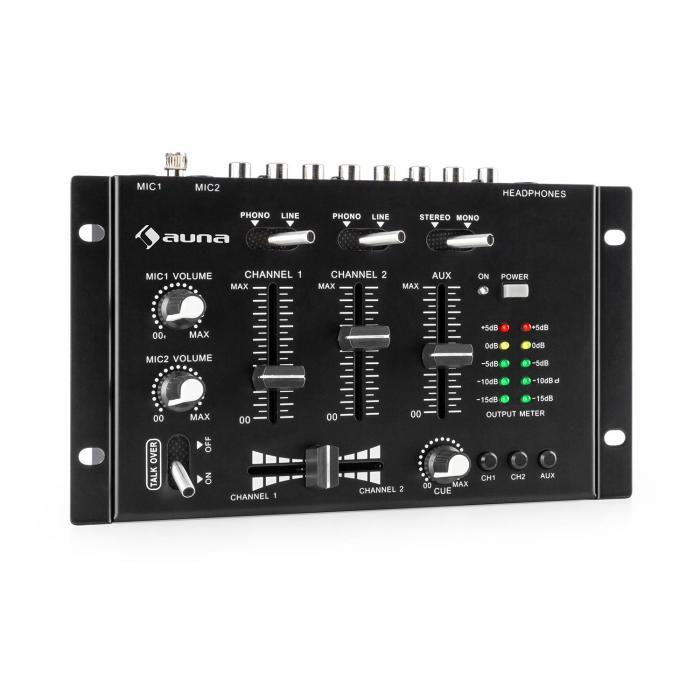 TMX-2211 MKII mixer per deejay 3/2 canali crossfader talkover montaggio su rack nero