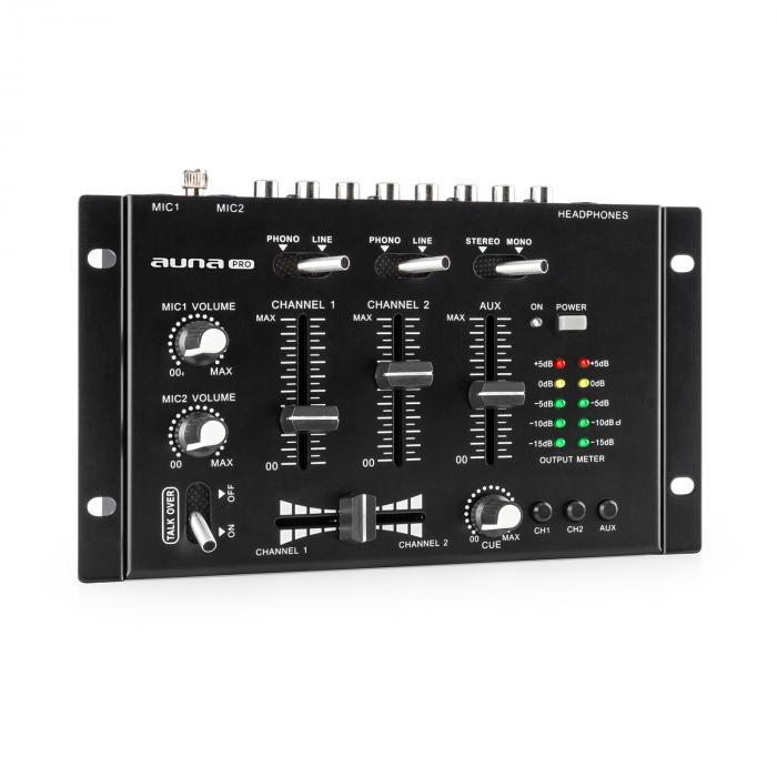 Auna Pro TMX-2211 MKII, 3/2-kanałowy didżejski pulpit mikserski, crossfader, talkover, montaż w racku, czarny