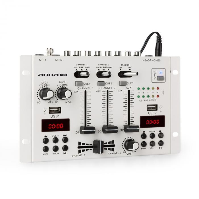 Auna Pro DJ-22BT MKII, 3/2-kanałowy didżejski pulpit mikserski, Bluetooth, 2 x USB, montaż w racku, biały