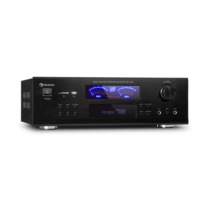 Auna AMP 5100 BT, wzmacniacz stereo, 2 x 120 W + 3 x 50 W RMS, Bluetooth, czarny