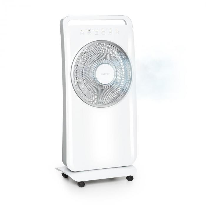 Klarstein Wildwater, wentylator stojący z nawilżaczem powietrza, 80W, 3690 m³/h, 2,5l, biały