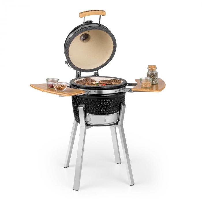 Klarstein Princesize Pro, grill Kamado, 33 cm (13 cali), termometr, części boczne, czarny