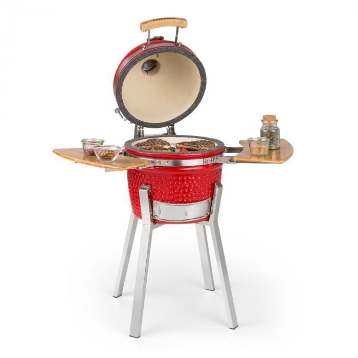 Klarstein Princesize Pro, grill Kamado, 33 cm (13 cali), termometr, części boczne, czerwony