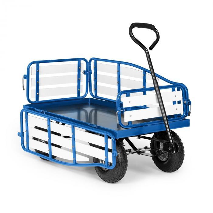 Waldbeck Ventura, ręczny wózek transportowy, nośność 300 kg, stal, WPC, niebieski