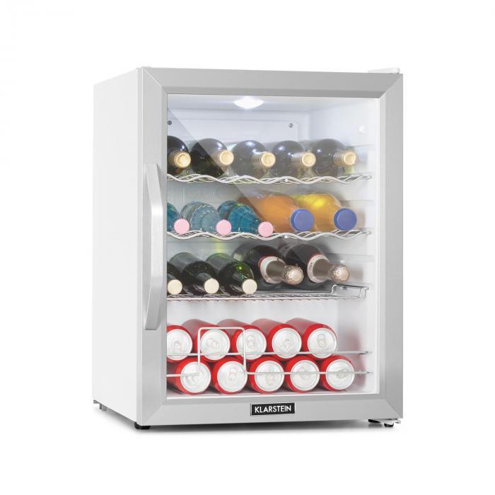 Klarstein Beersafe XL Crystal White, lodówka, A++, 60l, LED, szklane drzwi, kolor biały/srebrny