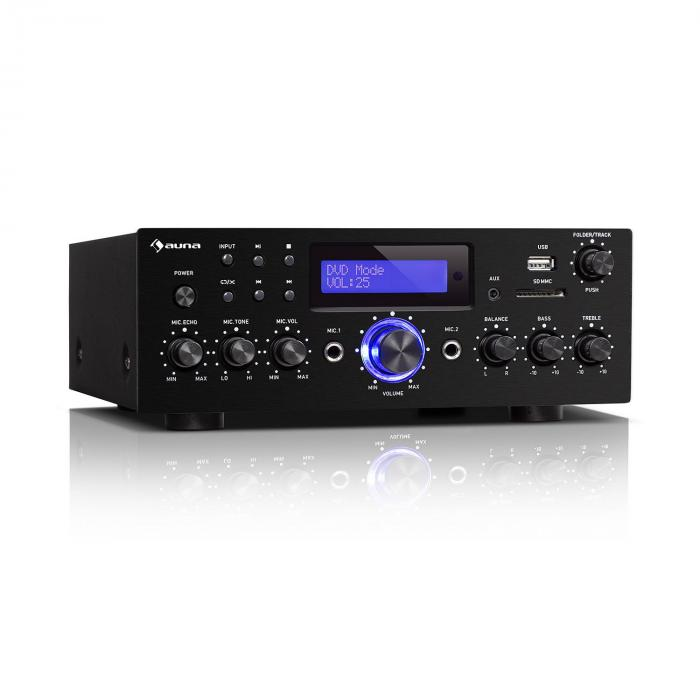 Auna AMP-5 BT, wzmacniacz Hi-Fi, 2 x 50 W RMS, Bluetooth, 2 x wejście mikrofonowe, czarny