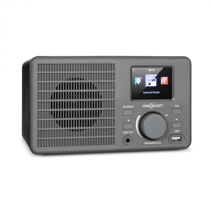 OneConcept TuneUp, radio internetowe, 5 W, WLAN, USB, wyświetlacz HCC, wyjście liniowe, ciemnoszare