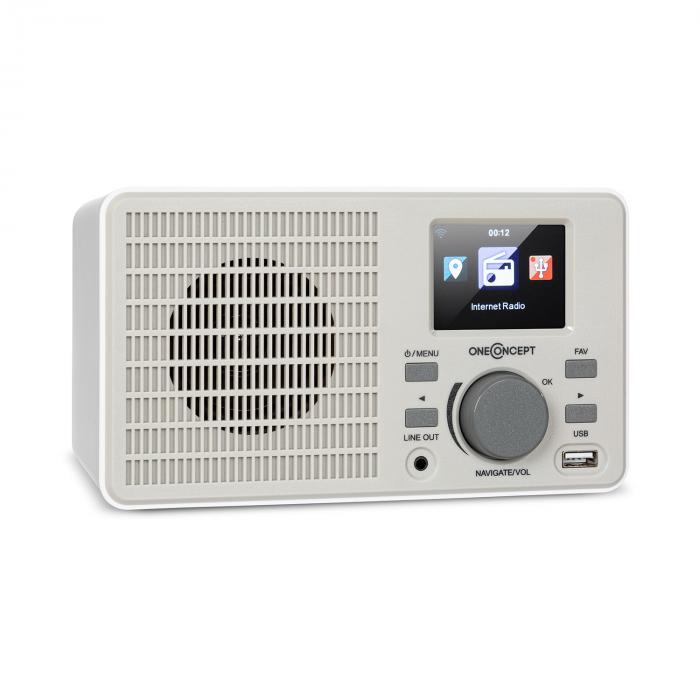 OneConcept TuneUp, radio internetowe, 5 W, WLAN, USB, wyświetlacz HCC, wyjście liniowe, białe