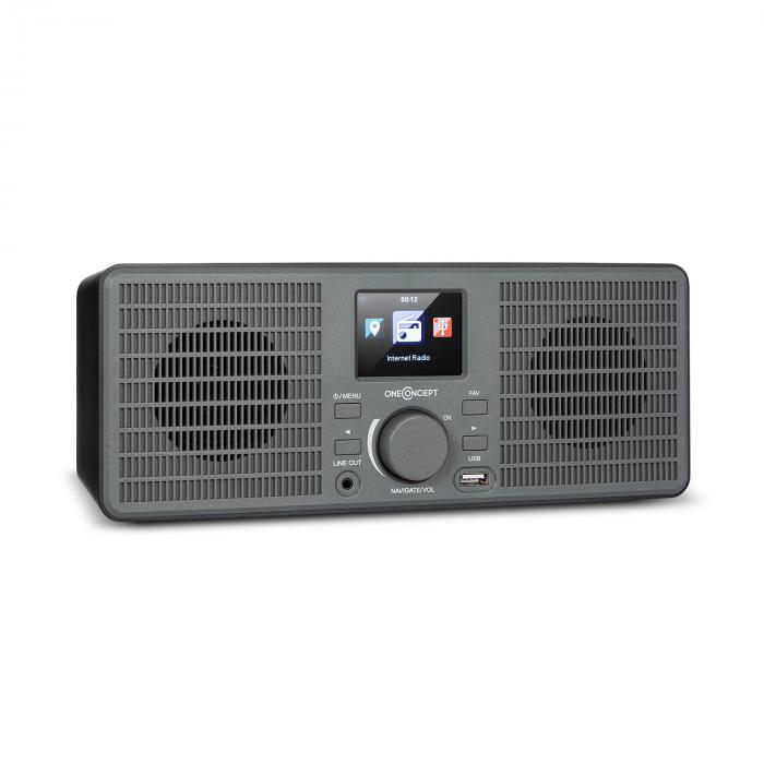 OneConcept TuneUp ST, radio internetowe, 10 W, WLAN, USB, wyświetlacz HCC, wyjście liniowe, ciemnoszare