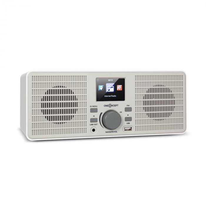 OneConcept TuneUp ST, radio internetowe, 10 W, WLAN, USB, wyświetlacz HCC, wyjście liniowe, białe