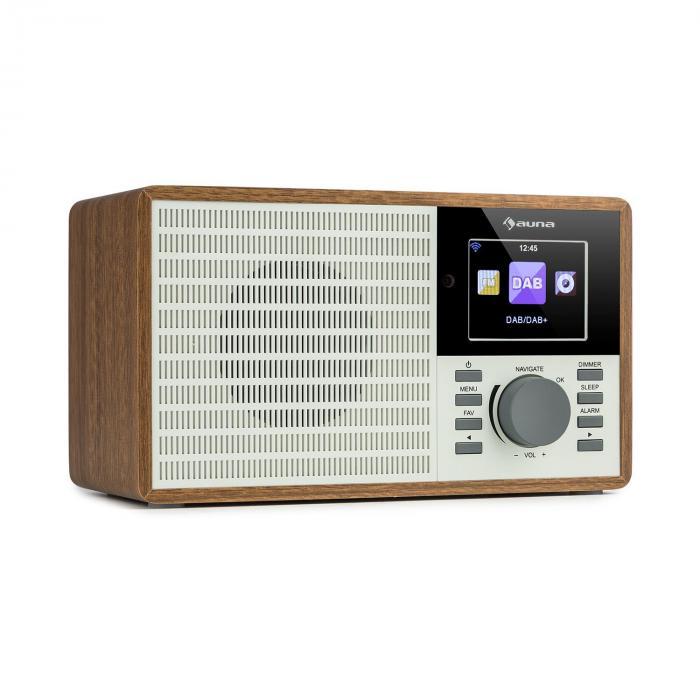 Auna IR-160 SE, radio internetowe, WLAN, USB, DAB+, UKF, 2,8-calowy wyświetlacz HCC, aplikacja AirMusic, drewno