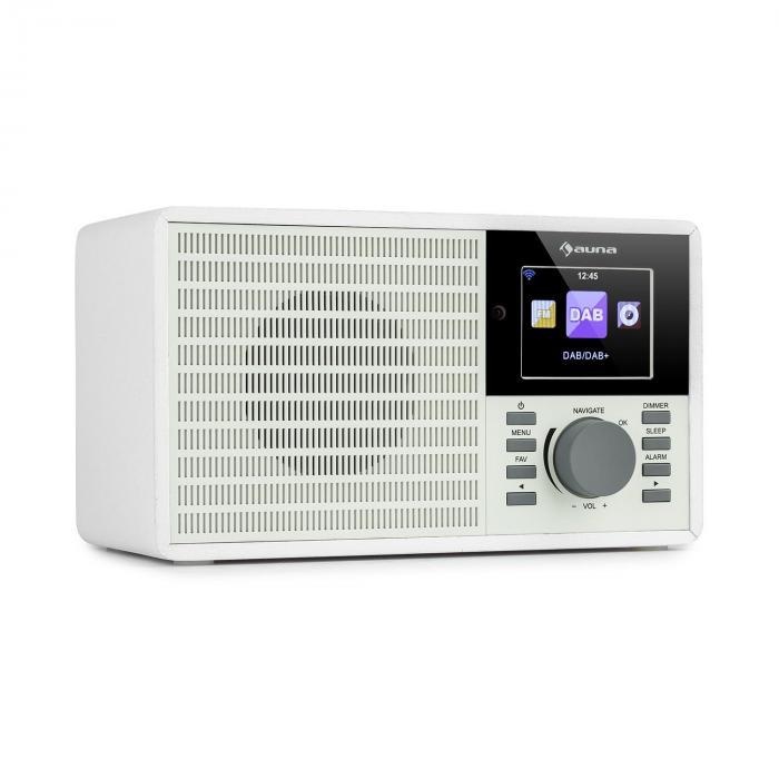 Auna IR-160 SE, radio internetowe, WLAN, USB, DAB+, UKF, 2,8-calowy wyświetlacz HCC, aplikacja AirMusic, białe
