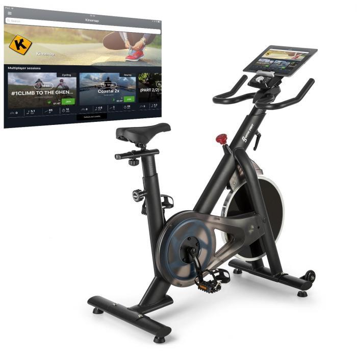 Capital Sports Evo Race, rower treningowy kardio, opaska do pomiaru pulsu, Kinomap, masa zamachowa 22kg, szary