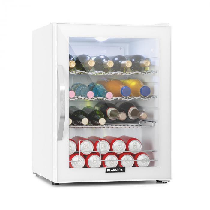 Klarstein Beersafe XL Quartz, lodówka, A++, 60l, LED, 2 metalowe ruszty, szklane drzwi, kolor biały