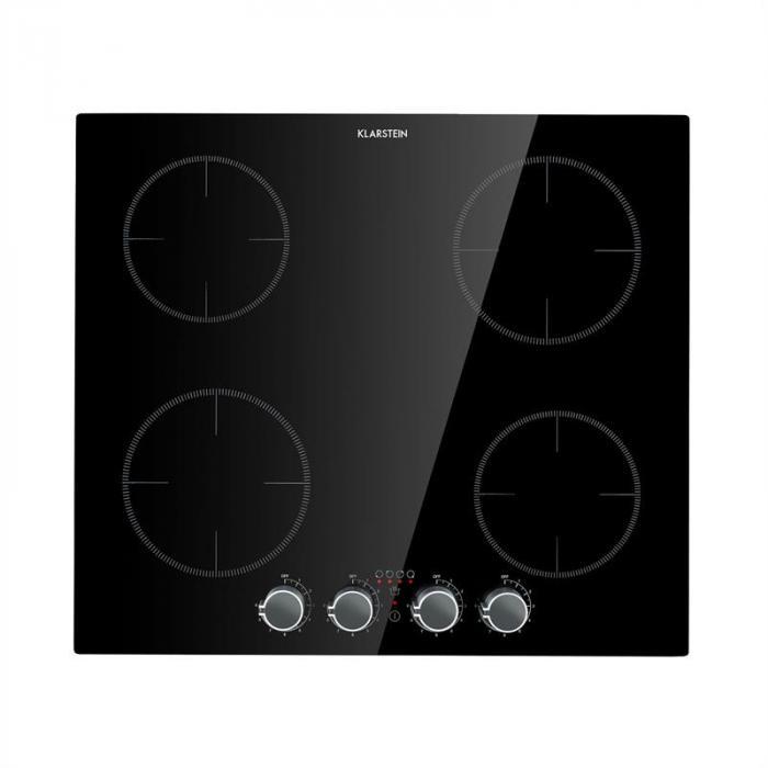 Klarstein Płyta indukcyjna, 4 pola grzejne, 6000W, pokrętła, szkło, czarna