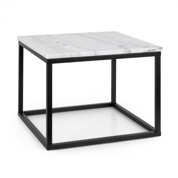 Besoa Volos T50, stolik kawowy, 50 x 40 x 50 cm, marmur, do użytku wewnątrz i na zewnątrz, czarny/biały