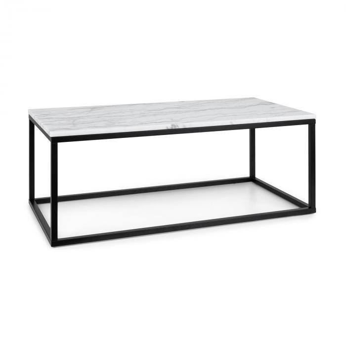 Besoa Volos T100, stolik kawowy, 100 x 40 x 50 cm, marmur, do użytku wewnątrz i na zewnątrz, czarny/biały