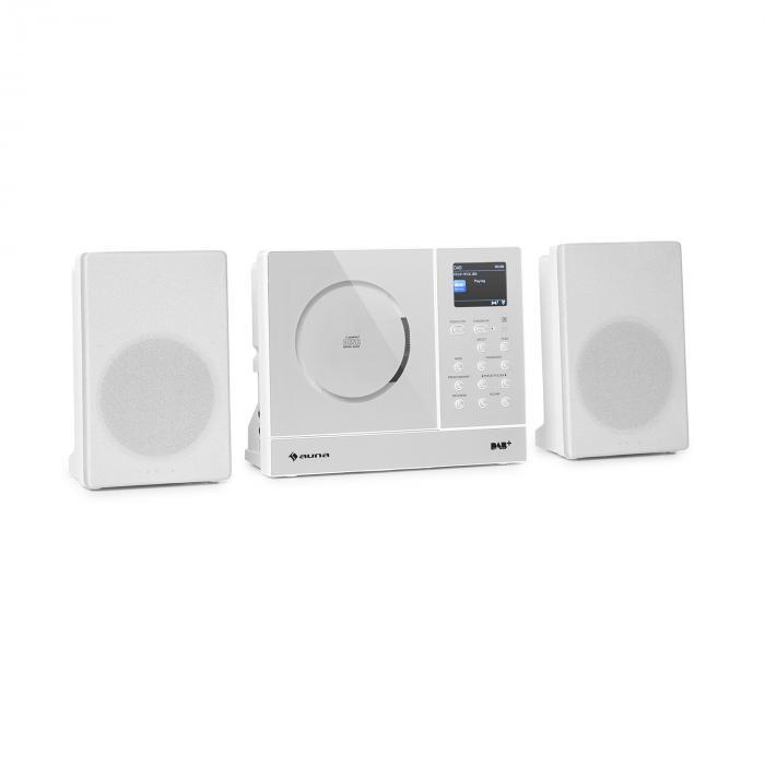Auna Connect Vertical, radio internetowe, 2 x 5 W, RMS, CD, IR/FM/DAB+, Spotify, Bluetooth, białe