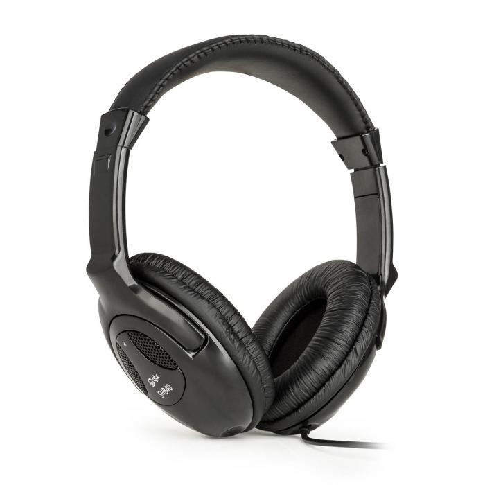 QTC SHB40, słuchawki stereo Hi-Fi, z kablem o długości ok. 2,5 m, złącze minicjak 3,5 mm, czarne
