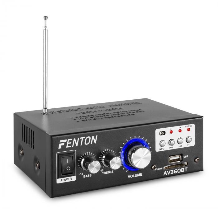 Fenton AV360BT, wzmacniacz stereo, 80W RMS (2 x 40W na 8 omach), BT / USB / SD / AUX