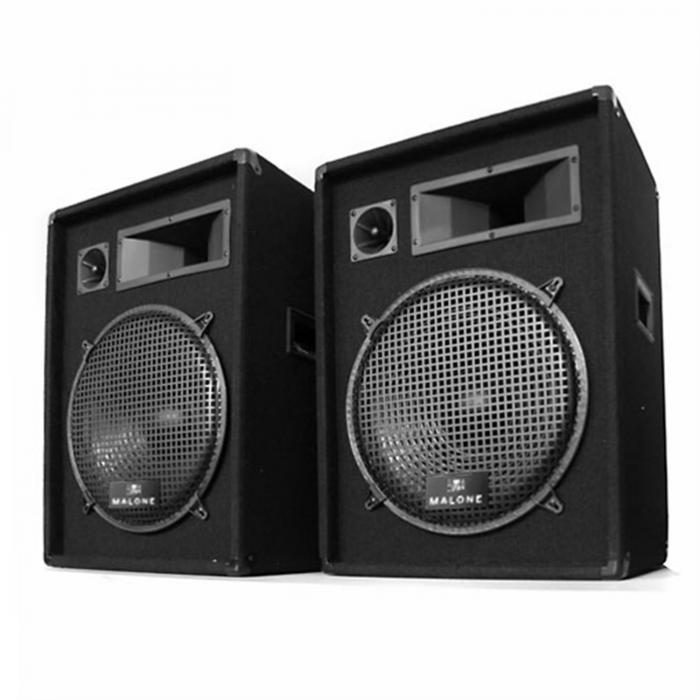 2x PW-1522 Paar 3-Wege Box Lautsprecher 38cm 1600W