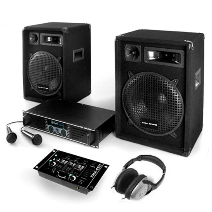 """Electronic-Star Zestaw PA """"Bass Boomer"""" wzmacniacz, kolumny, mikrofon, 800W"""