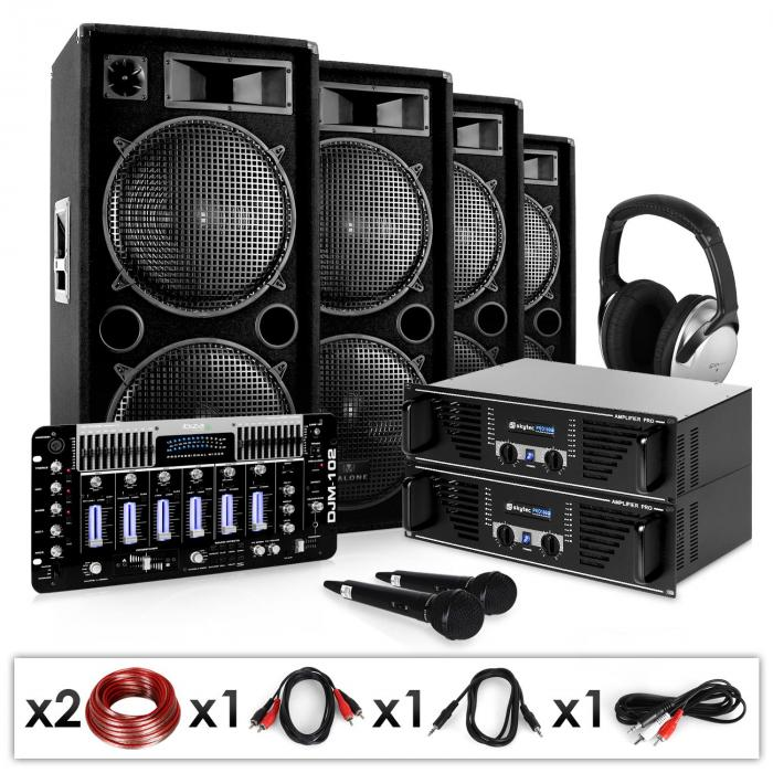 "DJ Set ""Bass First Pro"" 2x Amp 4x Casse Mixer 4000W"