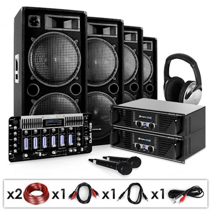 "Electronic-Star Zestaw PA DJ ""Bass First Pro""2x amplituner 4x kolumny mikser"