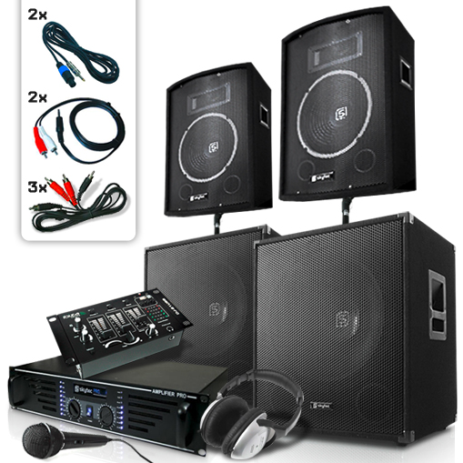 Complete DJ PA Sound System Speakers & Amplifier Set