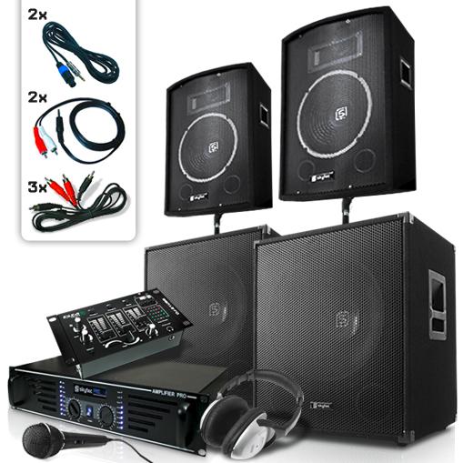 """DJ PA """"Bassbergen USB"""" 4xGłośnik 1xWzmacniacz 1xMixer 2000W"""