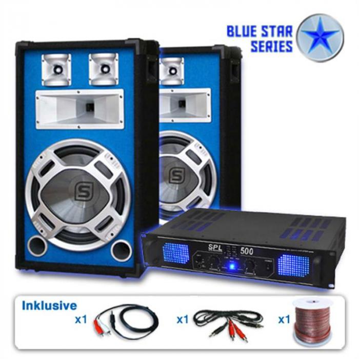 "PA Set Blue Star Series ""Basskick"" 1600Watt 1 Versterker 2Boxen"