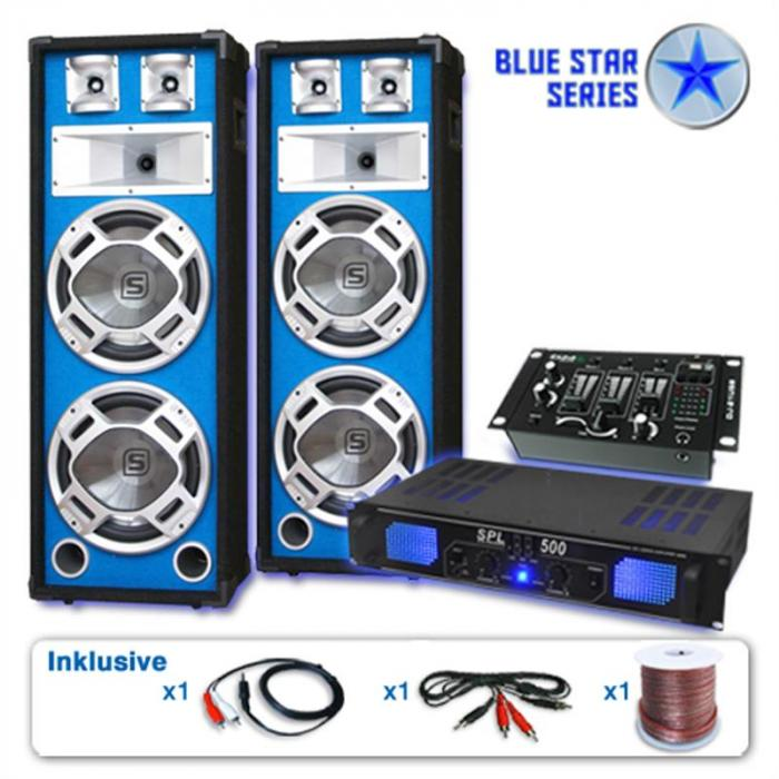 PA Set Blue Star Series 'Bass Veteran USB' 1200W