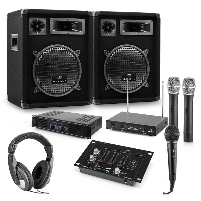 PA Set Mannheim 7-piece DJ-Set | 2 x 3-way Speakers | Amplifier| Mixer