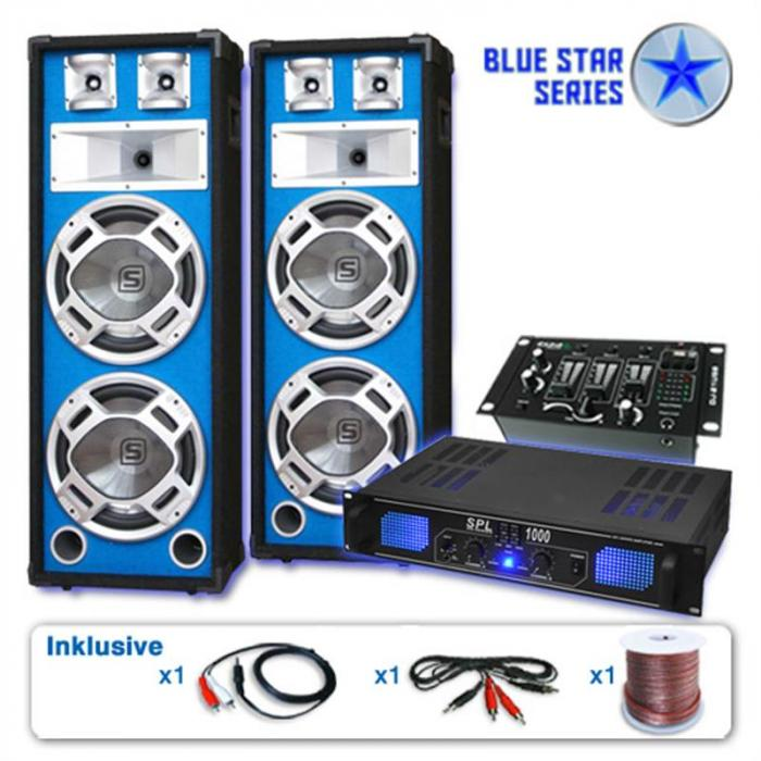 "Blue Star set di casse ""Basskern USB"" 2800 Watt"
