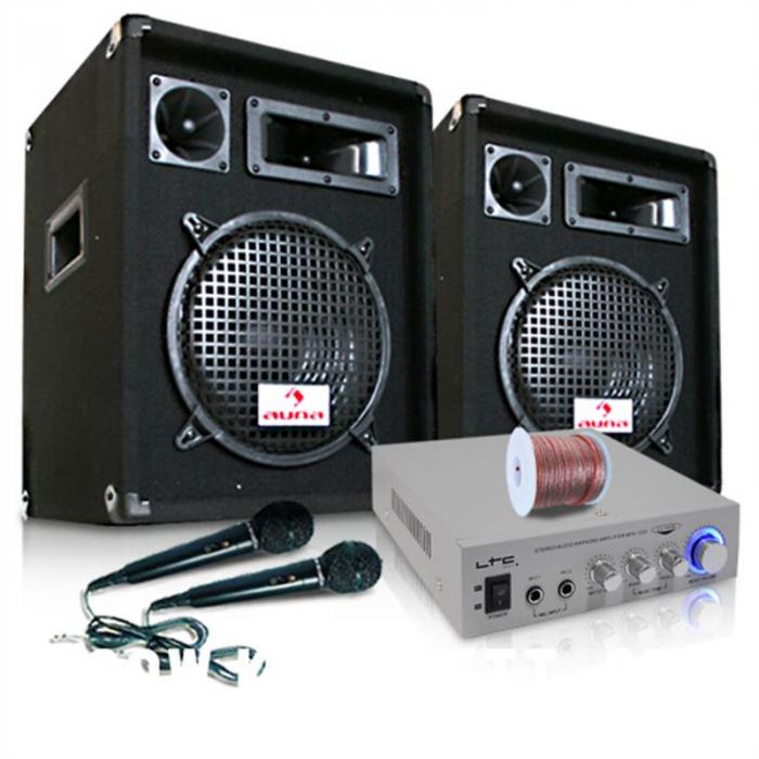 "PA system ""READY 2 GO V2"" Set Amplifier Speakers Microphone 800W"
